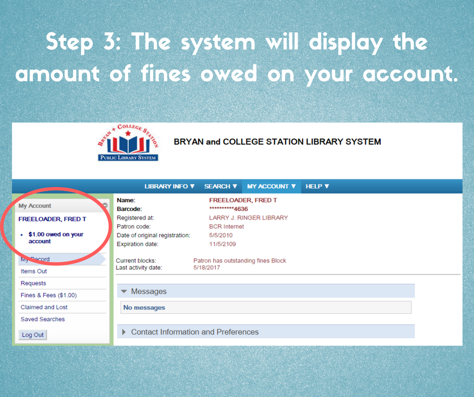 step 3, the system will display the amount of fines owed on your account